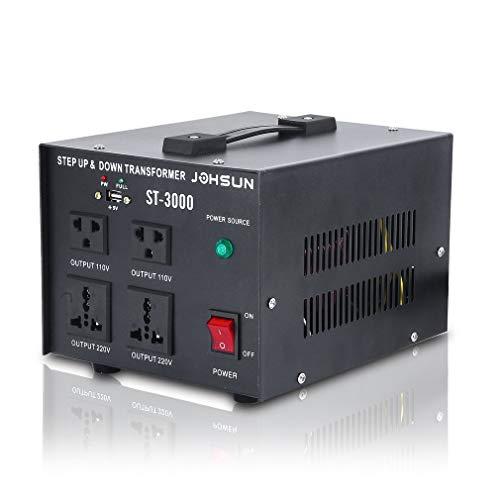 3000-Watt Voltage Converter Transformer - Step Up/Down - 110V/220V - Circuit Breaker Protection Soft Start & Full Load Circuit Breaker Protection (ST-3000W)