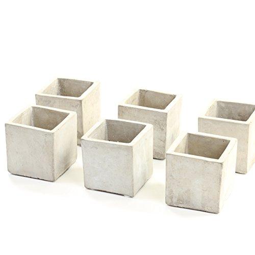 Koyal Wholesale Concrete Effect 6-Pack Candle Holder Planters for Concrete Wedding Centerpieces, Concrete Wedding Decorations, Cement Desk Accessories (6, 2.5-Inch)