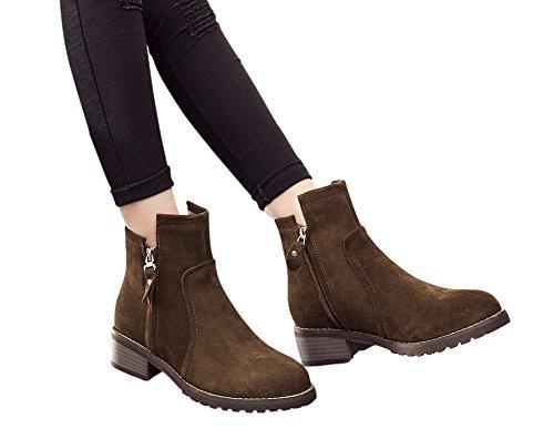 Brown Adult Heel 1bacha Women Ankle Tortor Girl Teenager Stacked Bootie Zipper 6qtYxqvd