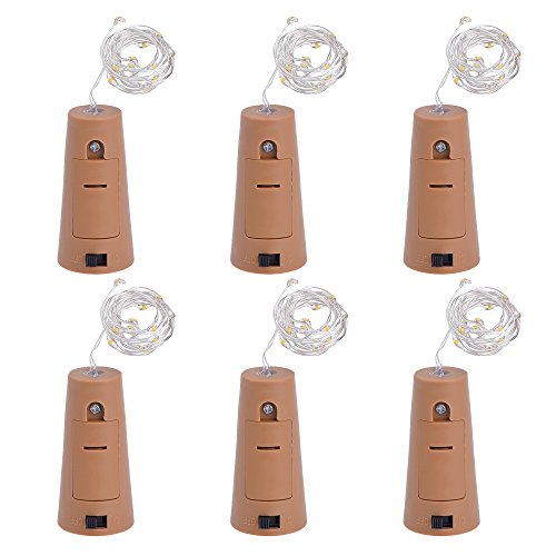 Outus Bottle Cork String Lights for Bottle DIY, Party, Christmas, Halloween and Wedding Decor, Warm White, 6 Pack