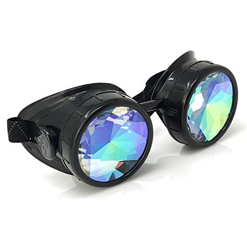 3D Rainbow Prism Kaleidoscope Rave Glasses Steampunk Goggles Industrial Look Sleek and Stylish