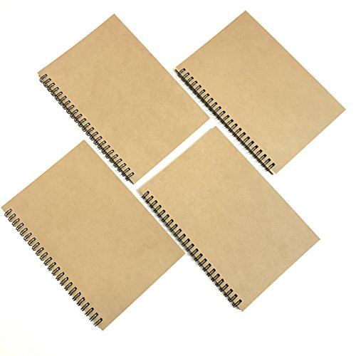 VEEPPO A5 Spiral Notebook Pack Wirebound Natural Kraft Hard Cover Blank Paper DIY Album Scrapbooking Notebooks (White -Pack of 4)