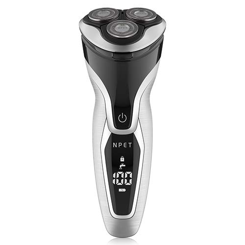Electric Shaver Razor for Men 2 in 1 NPET ES8109 USB Quick Rechargeable Electric Razor, IPX7 Waterproof Wet & Dry Rotary Shavers with LED Display, Travel Lock & Pop Up Trimmer - Silver + Black Thoth E-commerce Co. Ltd