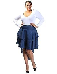 Plus Size Ruffle Tier High Low Denim Skirt