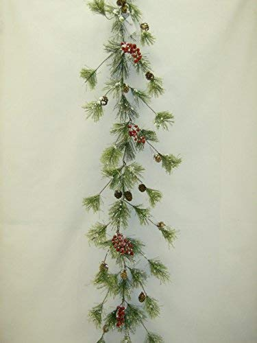 Snow Smokey Red Berry & Pinecone with Snow Tipped Branches Christmas Garland 6'