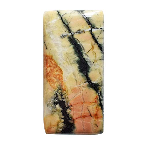 (RAVISHINGGEMS Natural Snakeskin Jasper Rectangle Cabochon, Size 28x13x4 MM, Jewellery Making, Stone for Pendant, Crafts Supply 20489)