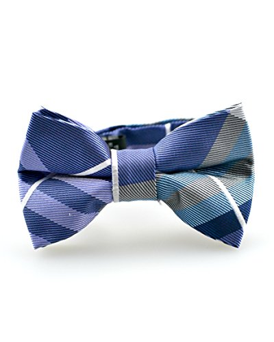 Littlest Prince Couture Violet and Silver Plaid Youth/Adult Bow Tie 8 Years - Adult