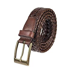 This Dockers belt is woven with incorporated notches and polished single-prong buckle.
