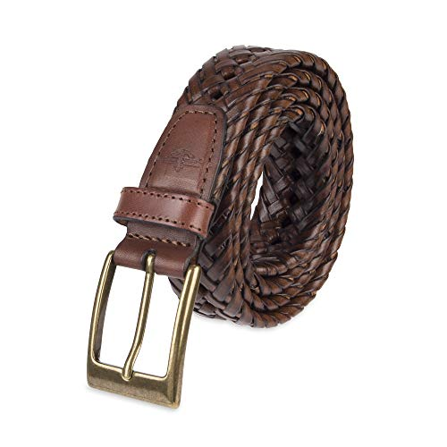 Dockers Men's 1 3/16 in. Glazed Top Braided Belt,Tan,38 Braided Edge Leather Belt