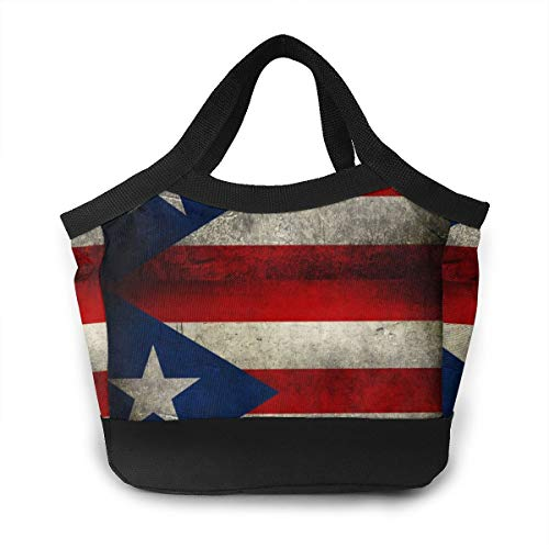 HuaFloralBoom Puerto Rico Flag Women Insulated Waterproof Lunch Bag Handbag Long Time Keep Food Hot/Cold Lunch Box Shopping Bag for Adultfor Work Office Outdoor Picnic Beach