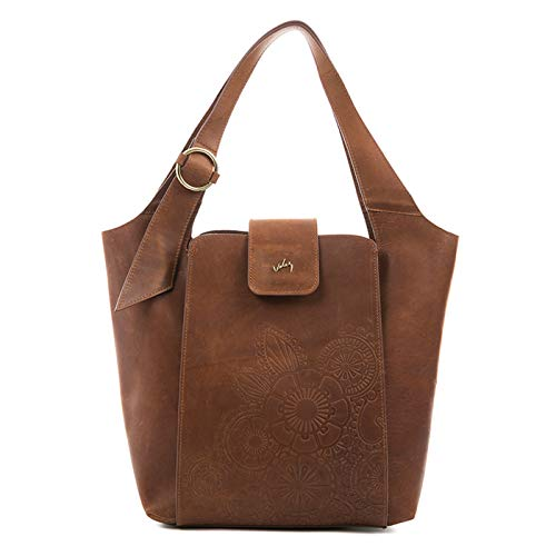 VELEZ 22692 Womens Genuine Colombian Leather Handbag Purse | Cartera para Mujer de Cuero Colombiano Brandy/Cognac