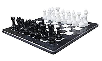 RADICALn Black and White Marble Chess Game 16 inches Handmade Marble Chess Set