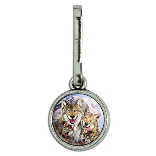 GRAPHICS & MORE Wolf Pack Selfie Family Wolves Antiqued Charm Clothes Purse Suitcase Backpack Zipper Pull Aid