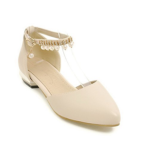 Shoes Cut Metal Low Womens Beige Flats Uppers Urethane Charms Buckles BalaMasa fWzBnqpz