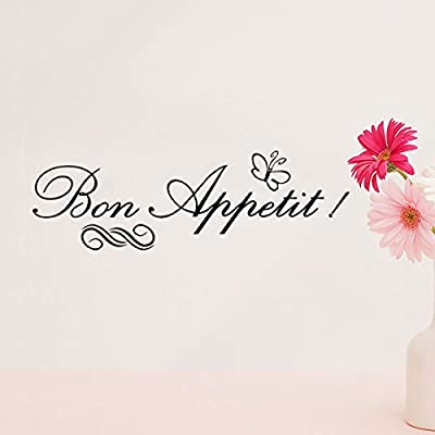 Soledi® Lovely Wall Decal Removable Bon Appetit French Words PVC Wall Mural Letters Words Wall Sticker Quote Wall Decal Art Home Kitchen Dining Room Decor