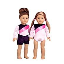 Little Gymnast - Pink and purple gymnastic leotard with shorts - Clothes for American Girl Dolls (doll not included)