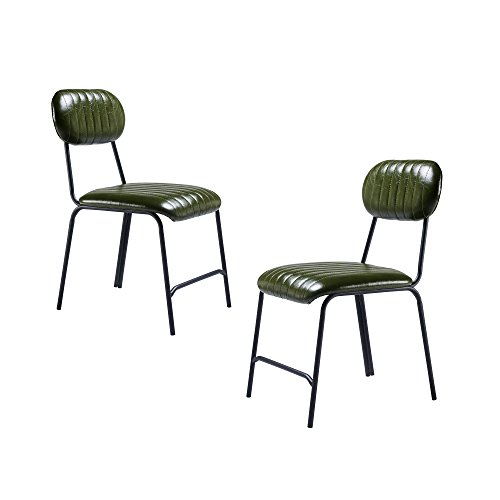Versanora VNF-00055 Industriale Dining Chairs, Set of 2, Olive Green black