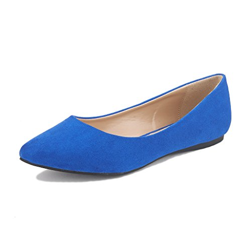 DREAM PAIRS Sole Classic Women's Casual Pointed Toe Ballet Comfort Soft Slip On Flats Shoes Royal Blue Size 9.5