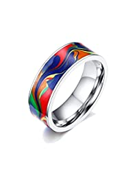 UM Jewelry Mens Womens Stainless Steel Abstract Oil Painting Ring 7mm