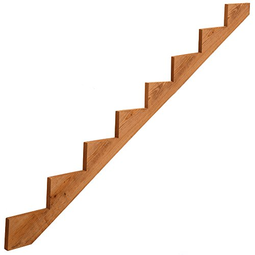 8-Step Pressure-Treated Cedar-Tone Stair Stringer, Pre-cut, Pre-stained, Outdoor Use