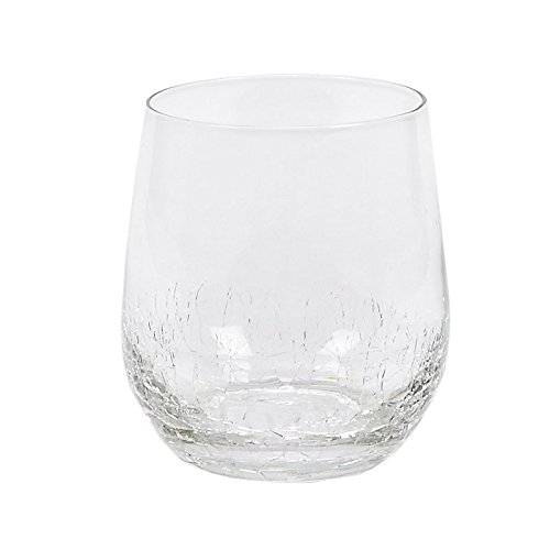 Impulse Crackle Rocks Hand-Crafted Glass, Clear, Set of 6