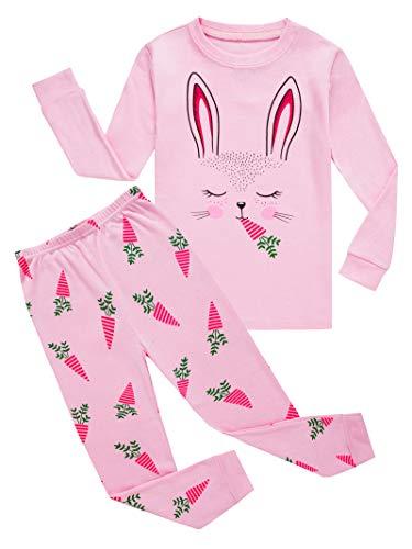 Big Girls Rabbit Easter Pajamas 100% Cotton Pink Pjs Sleepwear for Kid 10 -