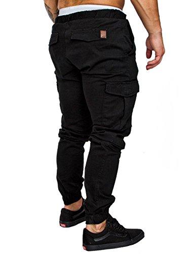 Coulisse Tasche Nero Di Laterali Casual Sport Pantaloni Pants Lunghi Con Uomo Cindeyar Maschi Elastici Cargo Trousers Della wvXqaxYF