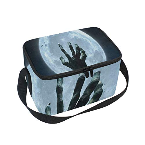 Lunch Bag Halloween Zombie Hand Grave Full Moon Womens Insulated Lunch Tote Zipper Kids Lunch Box -