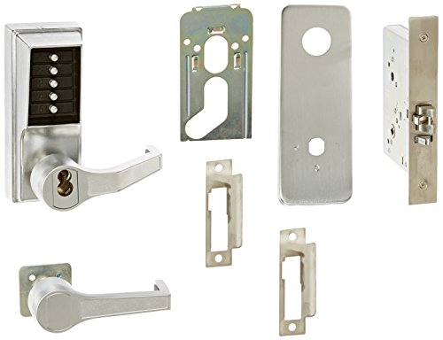 Kaba Simplex 8100 Series Metal Right Handed Mechanical Pushbutton Mortise Lock with Lever, Combination Entry, Key Override, Passage, Lockout, R/C Schlage, Core Not Included, Satin Chrome Finish by Simplex