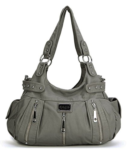 Purses For Women (Scarleton 3 Front Zipper Washed Shoulder Bag H129224 - Ash)