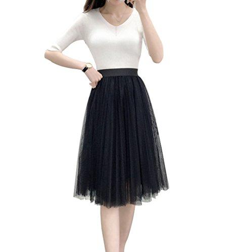 Women's A Line Knee Length Tutu Tulle Prom Party Dance Skirt (S-M, Black)