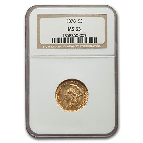 1878 $3 Gold Princess MS-63 NGC Gold MS-63 NGC