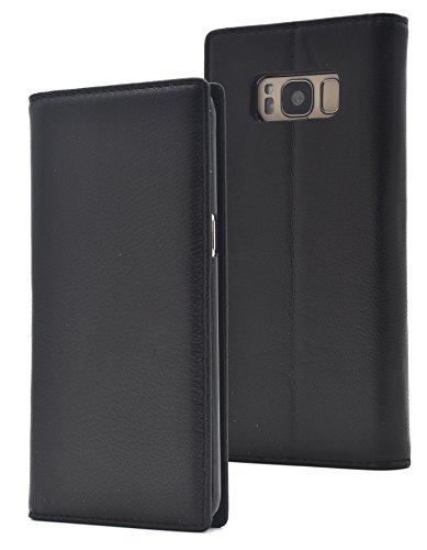 の前で金銭的統治可能PLATA Galaxy S8 ケース 手帳型 ラム シープスキン 羊革 本革 レザー カバー 【 ブラック 黒 くろ black 】