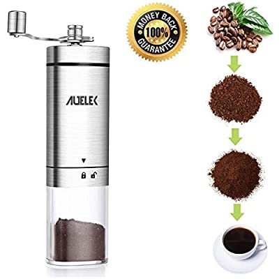 Manual Coffee Grinder?Conical Burr Mill With Adjustable Setting,Transparent Stainless Steel Portable Hand Crank Coffee Grinder by AUELEK