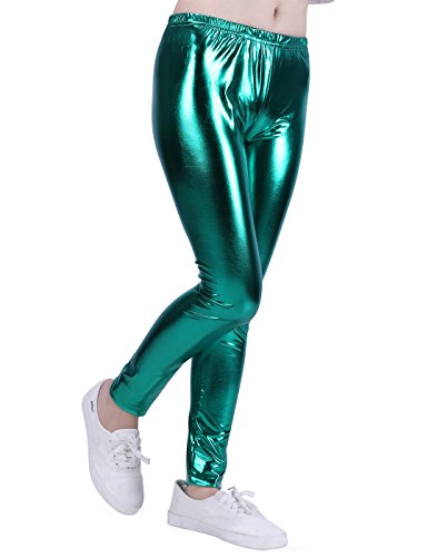 (HDE Girls Shiny Wet Look Leggings Kids Liquid Metallic Footless Tights (4T-12) (Green, 4/5))