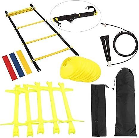 Escaleras de coordinación para fútbol, 18 piezas Speed Agility Trainingsset,obstáculos para fútbol, bandas de resistencia, escalera y conos, obstáculos y bolsa de transporte escalera de entrenamiento: Amazon.es: Deportes y aire libre
