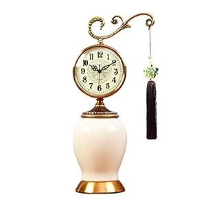 Relojes de mesa Reloj silencioso de 6 Pulgadas Reloj de Dormitorio Reloj Retro Sala de Estar Reloj de Chimenea (Porcelana Blanca)