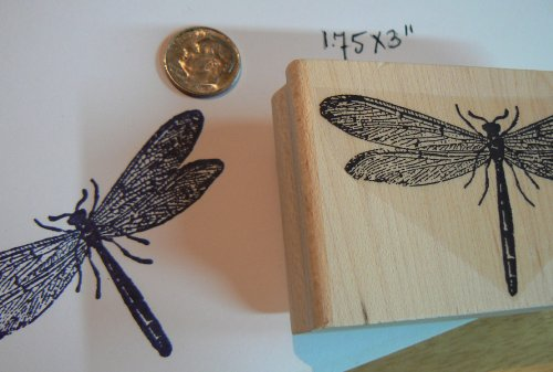 Dragonfly Rubber Stamp P3 (Rubber Mounted Wood Dragonfly Stamp)