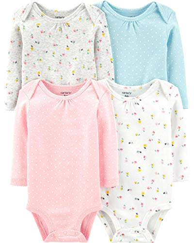 Carter's Baby 4 Pack Long Sleeve Bodysuit Set, Floral, 24 Months
