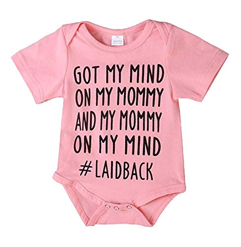 Baby Boys Girls GOT My Mind ON My Mommy Romper Bodysuit Infant Funny Jumpsuit Outfit (Pink, 3-6 Months)