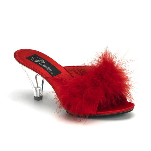 Pleaser Satin Heels - Pleaser Women's Belle 301F Sandal,Red Satin,12 M US