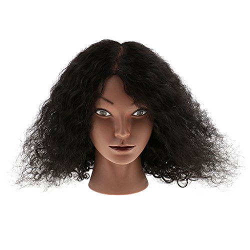 MonkeyJack Silicone Cosmetology Hairdressing Practice Training Mannequin Head With Human Hair With Mount Hole for Color Style Cut African American