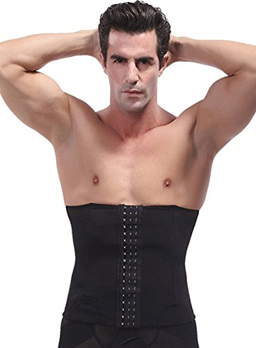 Panegy Mens Waist Cincher Adjustable Hooks Waist Trainer Tummy Control Beer Belly Stomach Fat Burning Belt Black US M/Tag XL(31-33 inches)