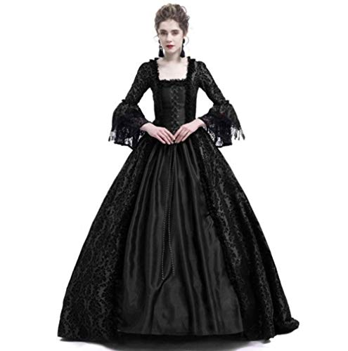 Delia Womens Masked Masquerade Ball Gown Gothic Victorian Christmas Cosplay Costume (M, Black)
