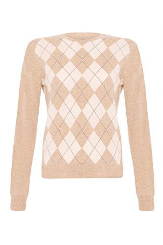 Ladies Cashmere Argyle Round Neck Sweater, Beige, S Cashmere Argyle Sweater