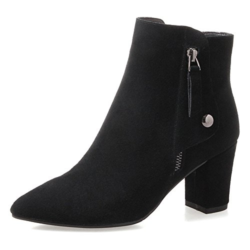 Nine Seven Suede Leather Womens Pointed Toe Chunky Heel Elegant Handmade Sexy Ankle Boots Black PjU4xh