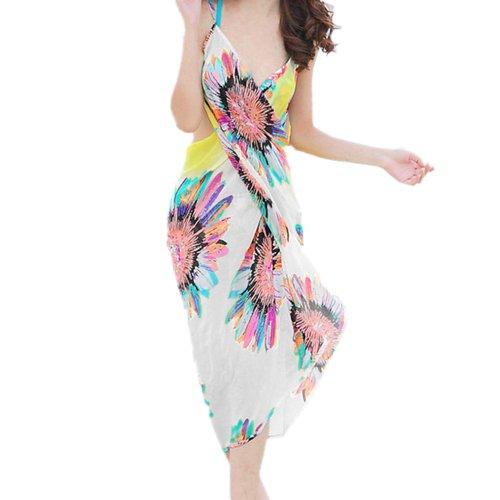 Zeagoo Women's Deep V Wrap Chiffon Swimwear Bikini Cover Up Sarong Beach Dress White