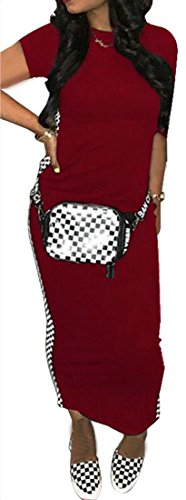 Red Short Women's Sleeve Neck Dresses Silm Cozy Wine Checkerboard Printed Crew Cromoncent TCqdZcP5P