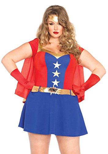 [Leg Avenue Women's Plus-Size 3 Piece Comic Book Girl Costume, Blue/Red, 3X] (Comic Book Hero Halloween Costumes)