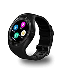 Bluetooth SmartWatch, Beafup Kids Adults Smart watch Touch Screen Bluetooth WristWatch /SIM Card Slot/Sleep Monitoring for Android IOS (Partial Functions) (Black)